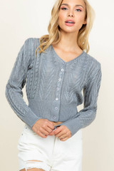 Sweaterland - OPEN KNIT CABLE STITCHED BUTTON DOWN CARDIGAN