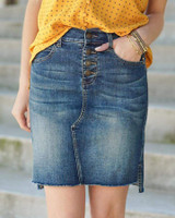 Grace and Lace Super Stretch Step Hem Denim Skirt Button Fly - Dark MidWash