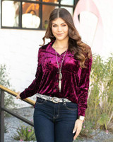 Grace and Lace Tinsel Velvet Button Up - Mulberry