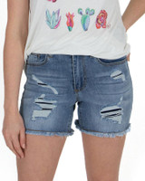 Grace and Lace Patched Distressed Shorts - Light Midwash