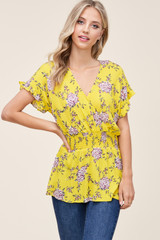 Staccato Smocked Waist Blouse - Yellow