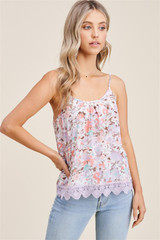 Staccato Floral T-back Tank with Crocheted Hem - Lavendar