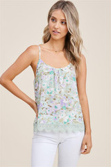 Staccato Floral T-back Tank with Crocheted Hem - Mint