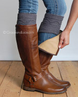 Cable Knit Boot Cuffs - Dark Gray