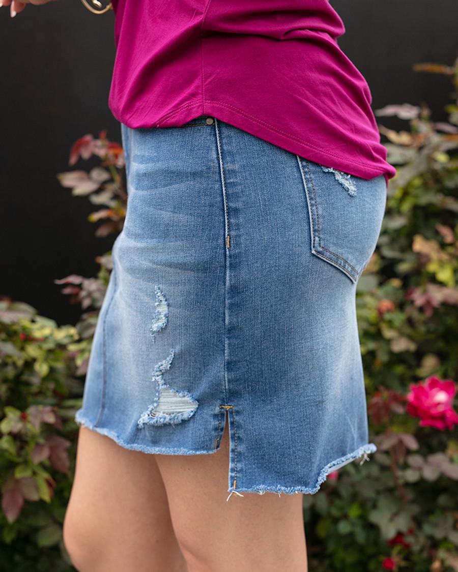 Grace and Lace Super Stretch Step Hem Denim Skirt - MidWash