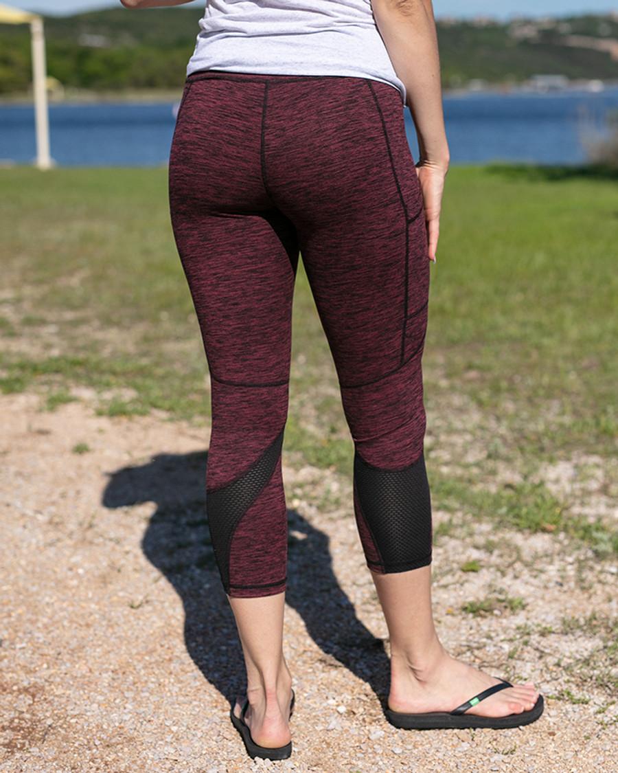 Grace and Lace Athleisure Pocket Legging - Heathered Wine