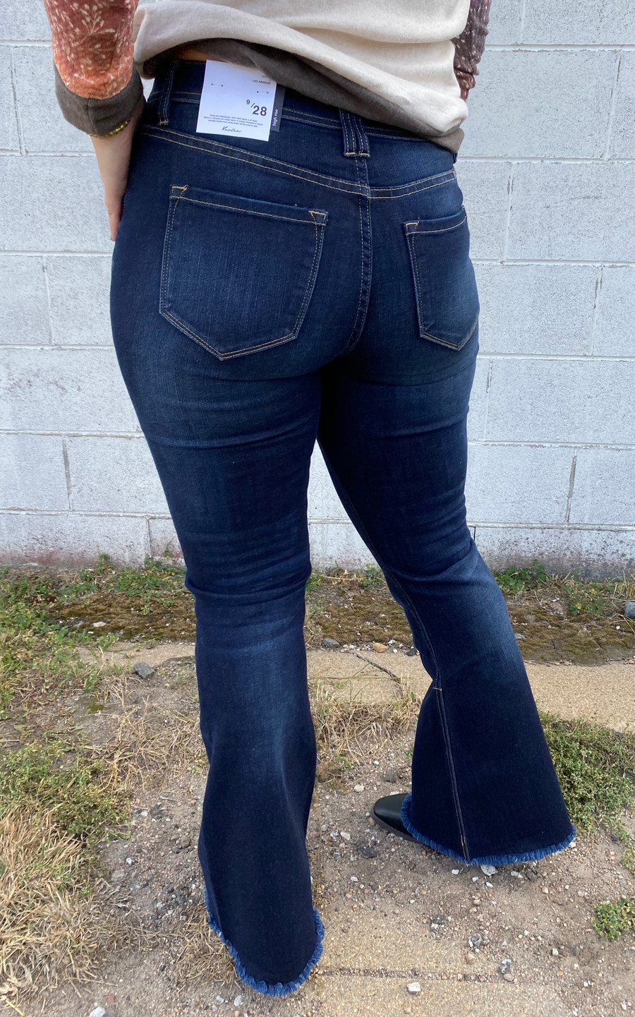 KanCan Dark/Distressed High Rise Button Fly Flare Jean