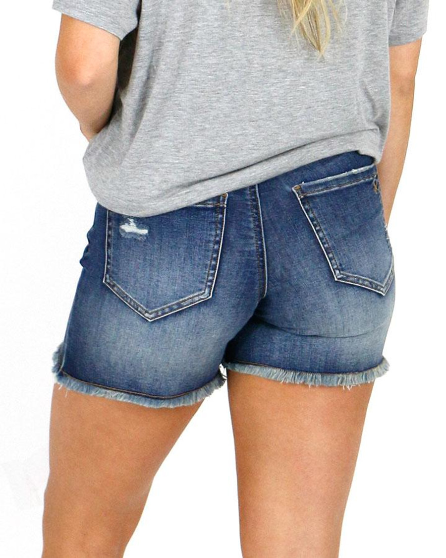 Grace and Lace Patched Distressed Shorts - Dark Midwash