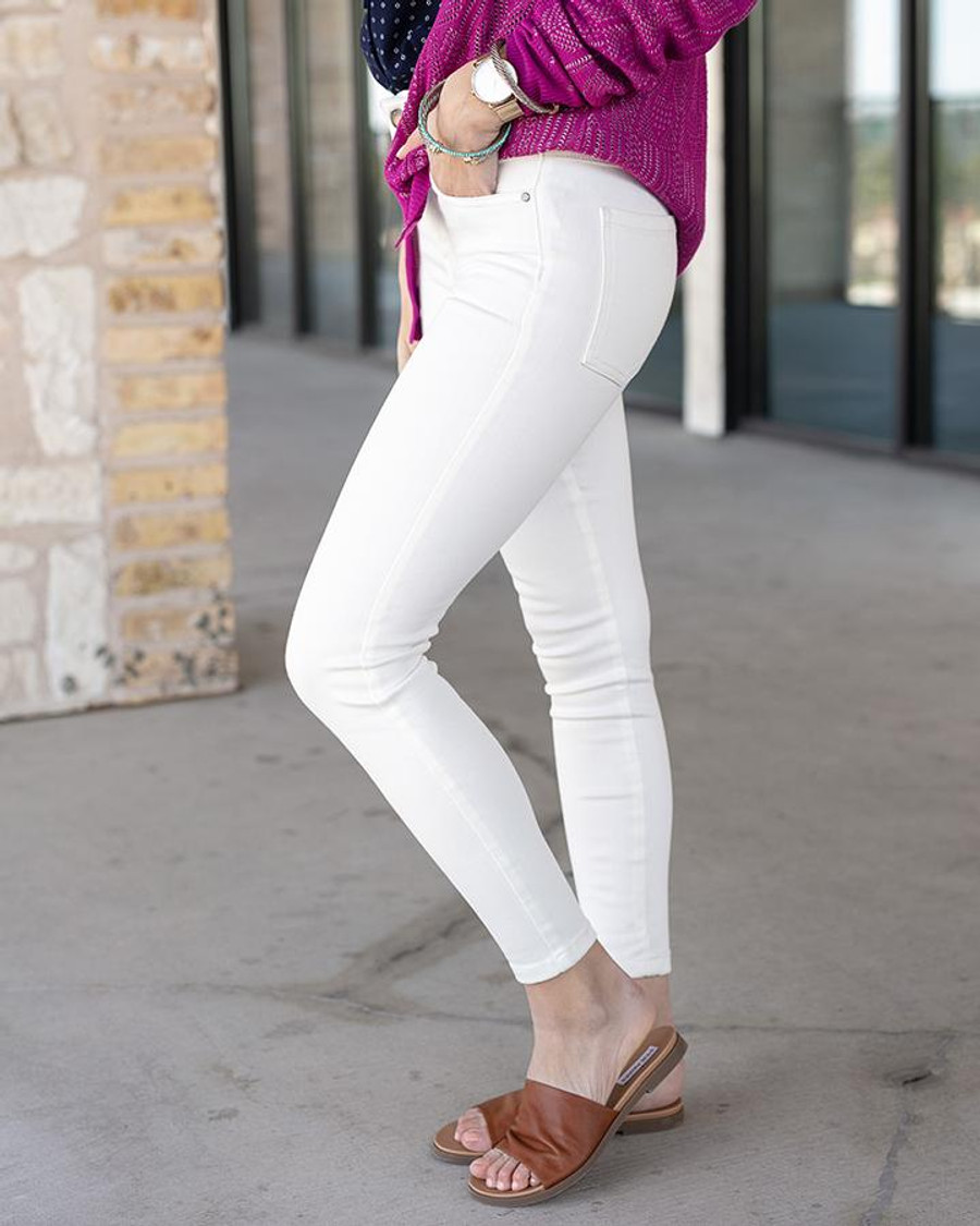 Grace and Lace Non-distressed Ankle Jeggings - White