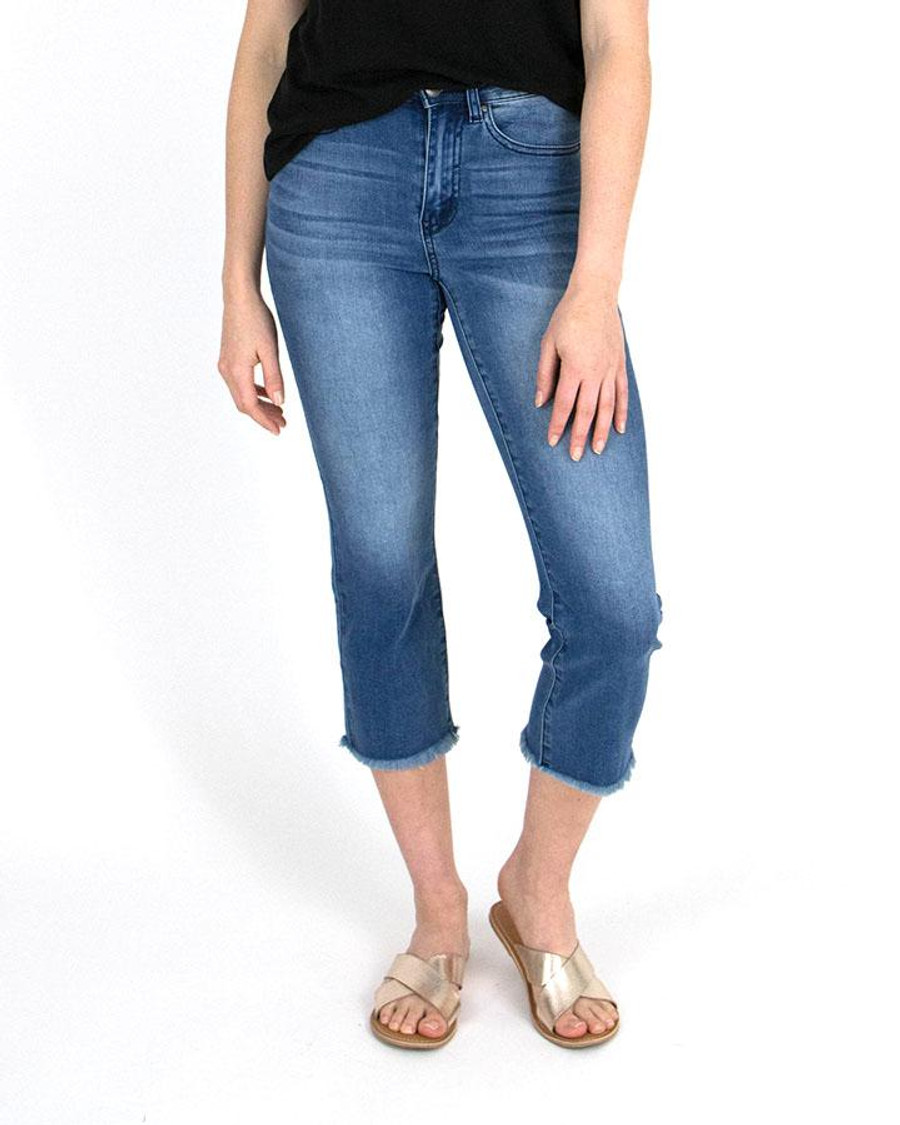 Grace and Lace Crop Flare Jeggings - Mid-Wash