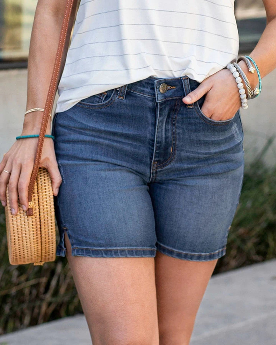 """Grace and Lace 7"""" Comfort Stretch Shorts - Dark Midwash"""