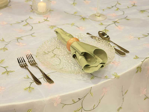 """Sheer """"Pink Lily"""" Tablecloth"""