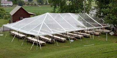 clear top tent shown from above, perfect for decorating with lights