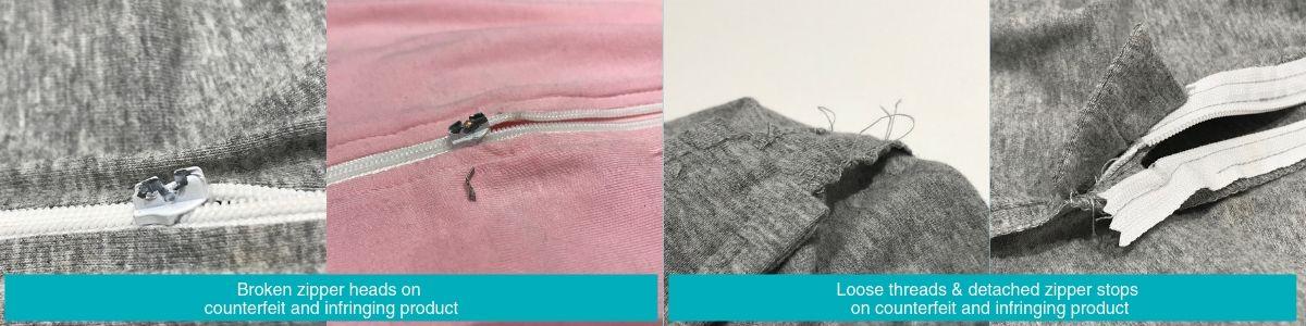 Examples of Counterfeit: Broken zipper heads, loose threads and detached zipper stops