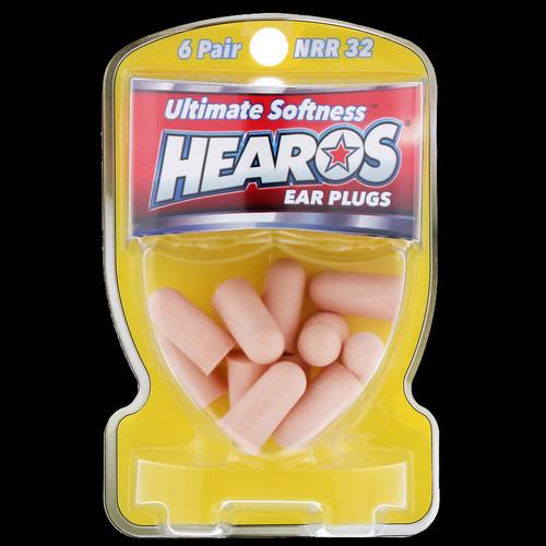 HEAROS Ear Plugs Ultimate-Softness Series 6 PAIRS