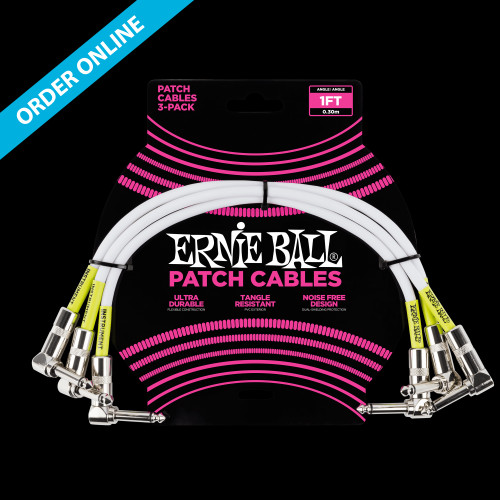"""Ernie Ball Patch Cable White 1' (30cm) 1/4"""" Right Angle"""