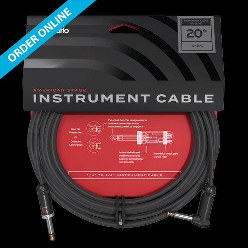 """D'Addario American Stage Instrument Cable 20' (6m) 1/4"""" Right-Angle/Straight Lead"""