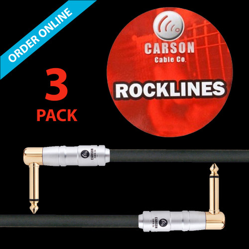 """Carson Cable Co Instrument Patch Cable 6"""" (15cm) 1/4"""" Right Angle Lead (3-Pack)"""