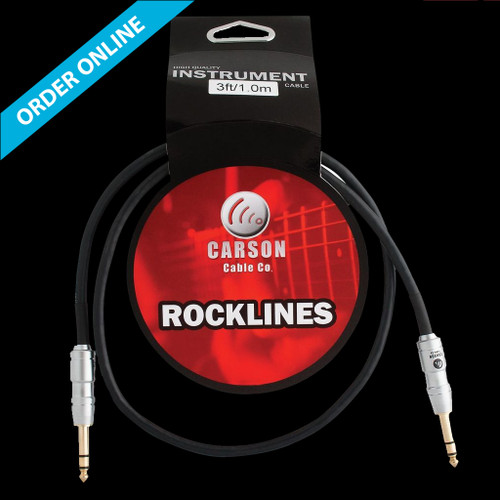 """Carson Cable Co Instrument Cable 3' (1m) 1/4"""" Straight Lead"""