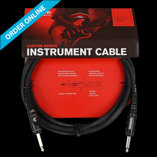 """D'Addario (Planet Waves) Custom Series Instrument Cable 3m (10') 1/4"""" Straight Lead"""