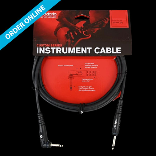 """D'Addario (Planet Waves) Custom Series Instrument Cable 6m (20') 1/4"""" Straight/Right Angle Lead"""