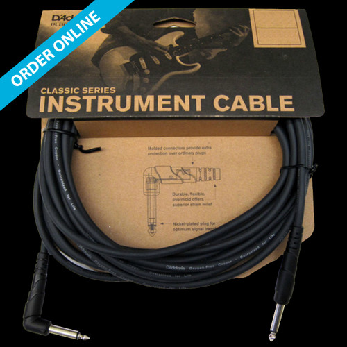 """D'Addario (Planet Waves) Classic Series Instrument Cable 6m (20') 1/4"""" Straight/Right Angle Lead"""