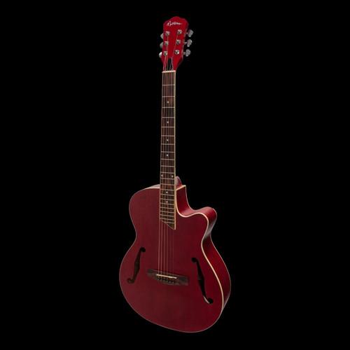Martinez Jazz Hybrid Electric/Acoustic Guitar Red