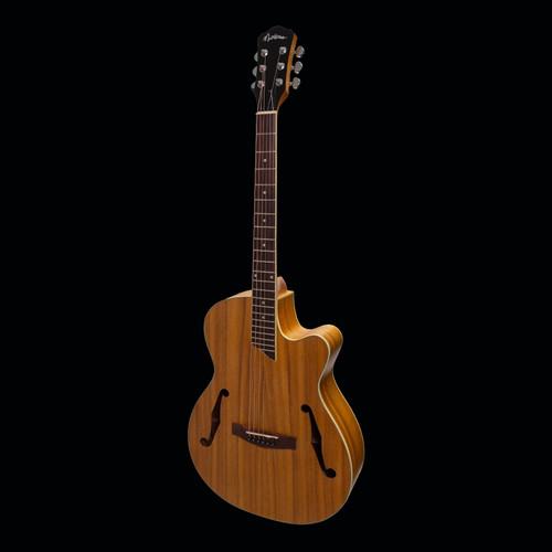 Martinez Jazz Hybrid Electric/Acoustic Guitar Koa