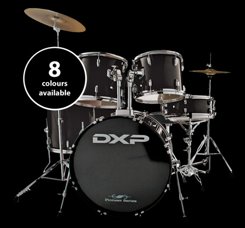 """DXP Pioneer 22"""" Rock Drum Kit Package w/Hardware, Cymbals & Throne"""