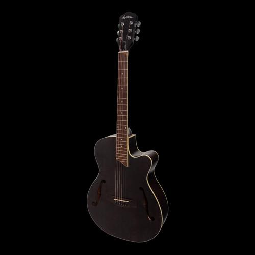 Martinez Jazz Hybrid Electric/Acoustic Guitar Black