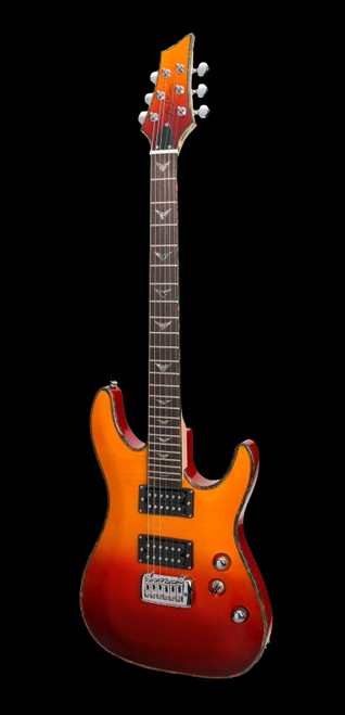 J & D Luthiers M18F YG/TRI Flame on Mahogany Electric Guitar Red/Yellow Fade