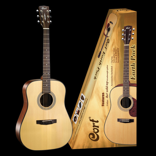 Cort Earth 60 Solid-Top Acoustic Guitar Pack