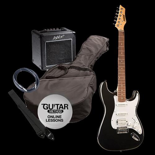 Ashton Electric Guitar + Amp/Accessories Pack Black