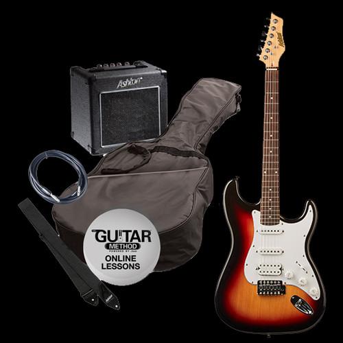 Ashton Electric Guitar + Amp/Accessories Pack Tobacco Sunburst