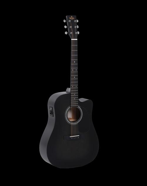 Sigma DMCE-BKB Dreadnought Electric/Acoustic Guitar Satin Black