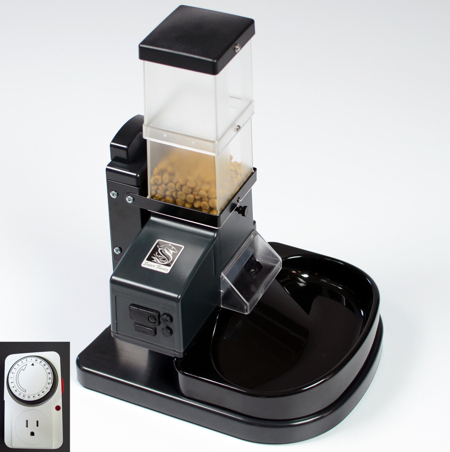 CSF-3 cat Super Feeder with stand/bowl, chute cover, external analog timer and mounting hardware.