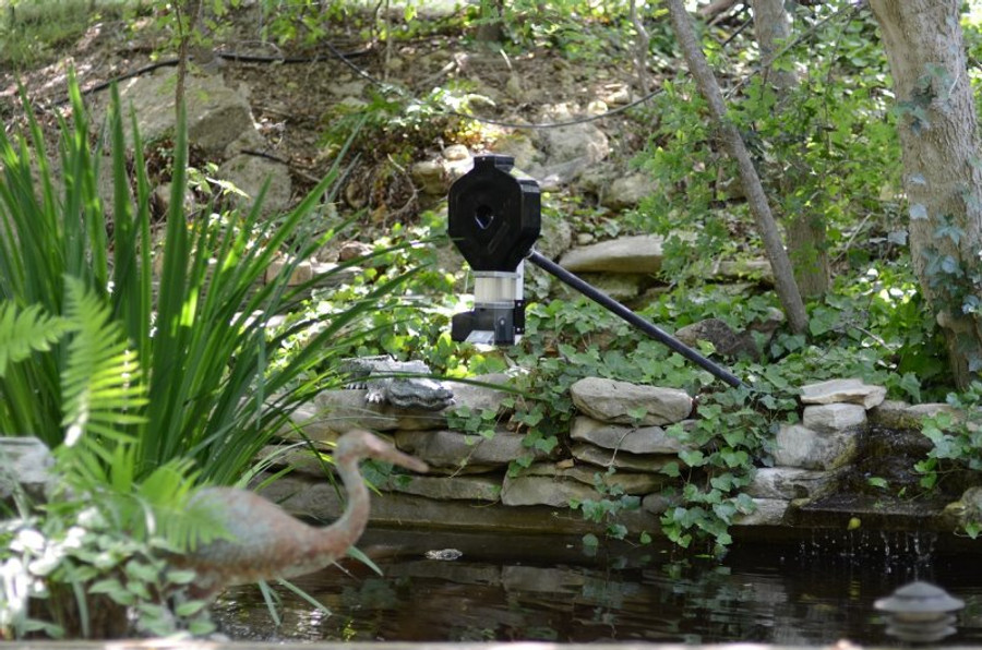 KSF-2XL hung over pond with pelican