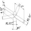 Pole Tenon Spoke Triple Bracket 120 Degree Arms