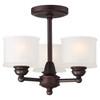"Minka Lavery Semi Flush Mount Ceiling Light, 13.5"" Height x 16"" Width, Semi Flush Mount, Lathan Bronze with Etched Box-Pleat Glass, 120V, 3 Bulb Incandescent, E26 Base (1738-167)"