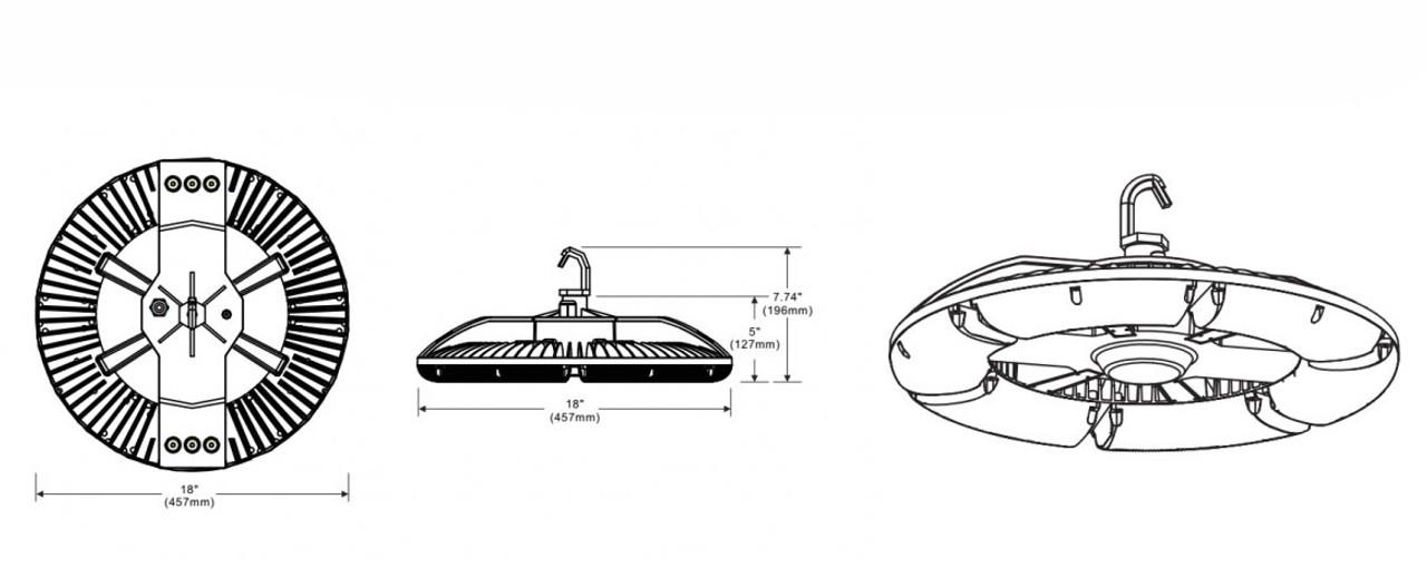 UFO LED High bay dimensions