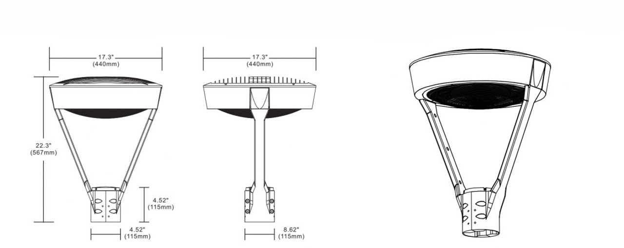 LED Post Top dimensions