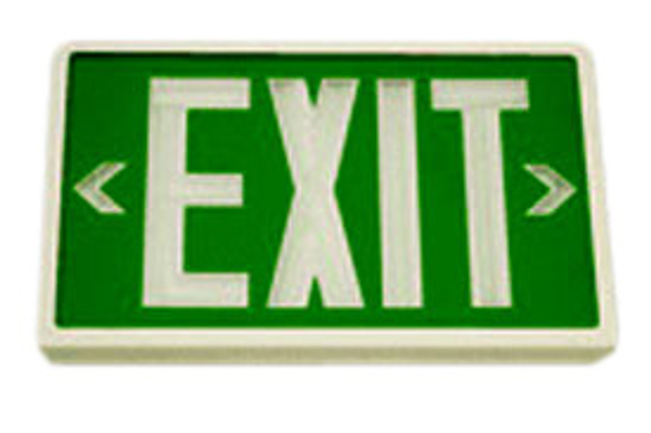 Betalux Self Luminous Exit Sign 20 year Green Face White Housing