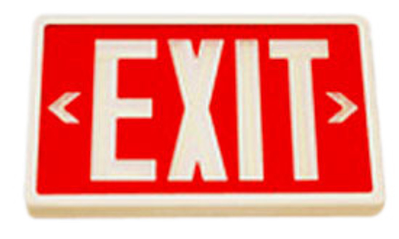 Betalux Self Luminous Exit Sign 10 year Red Double Face White Housing