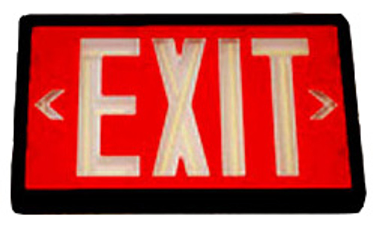 Betalux Self Luminous Exit Sign 20 year Red Double Face Black Housing