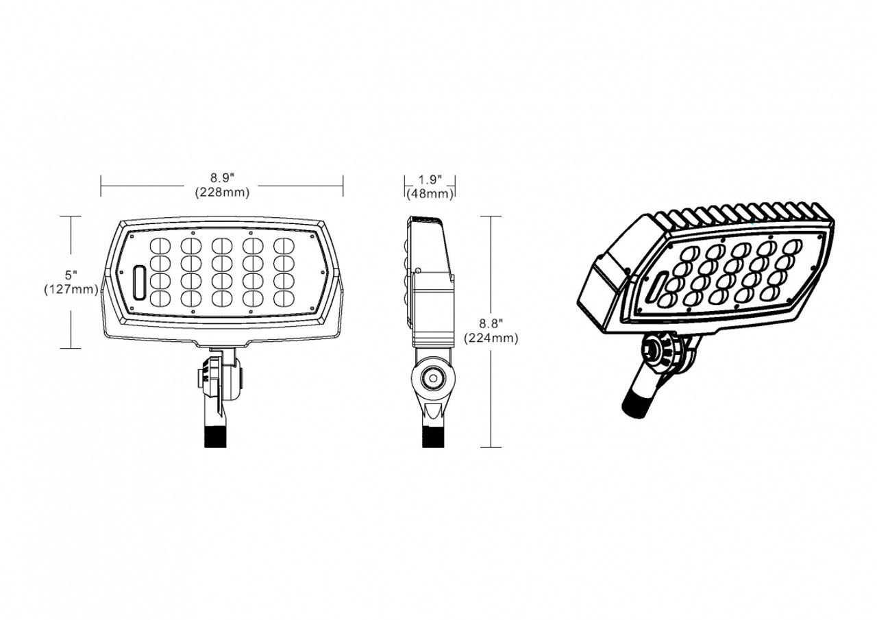 Slim Line LED Flood Light, 48 watt, 5563 lumen, 120-277 volt, UL DLC Listed