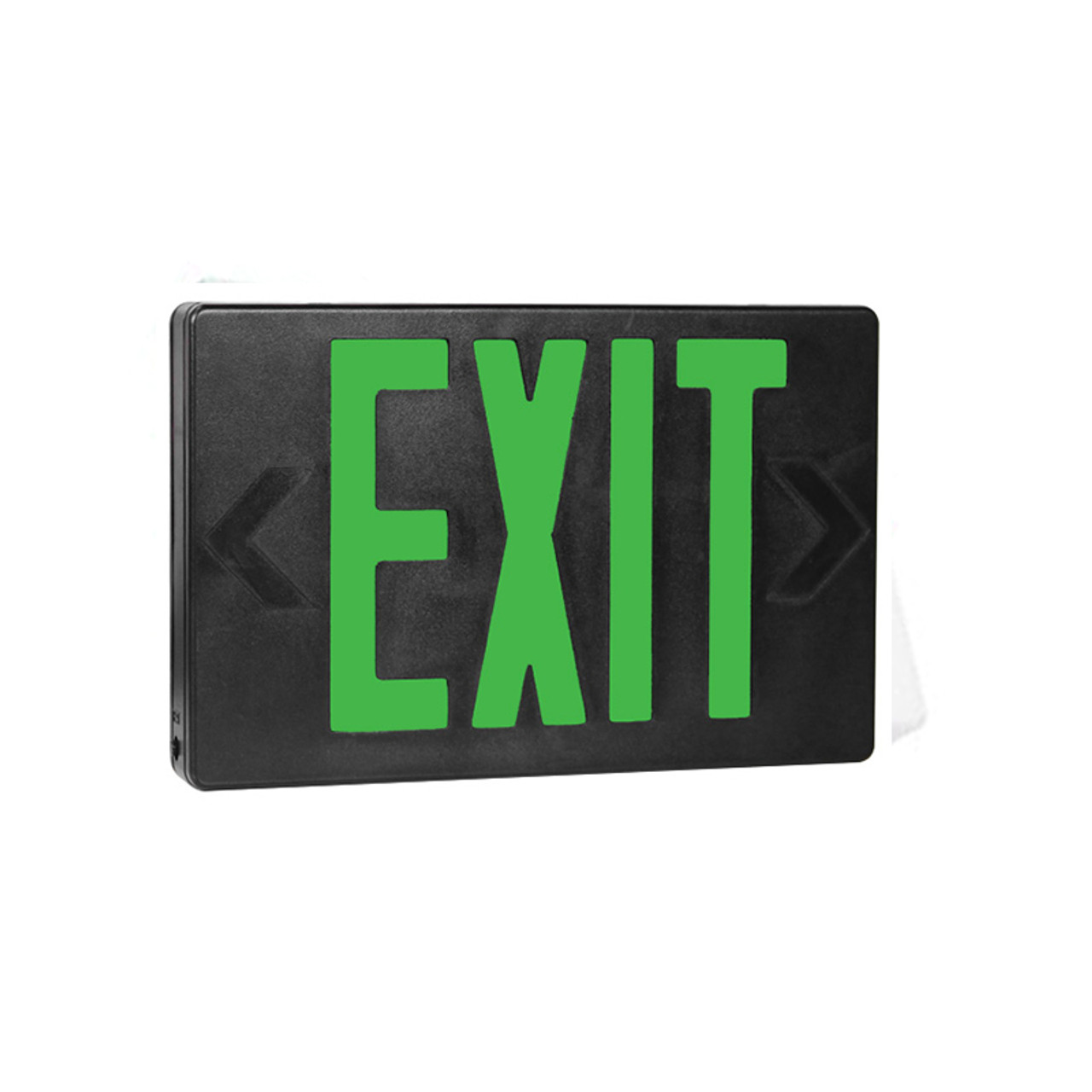 Green Lettering Black Housing LED Exit Sign with Battery Back-Up