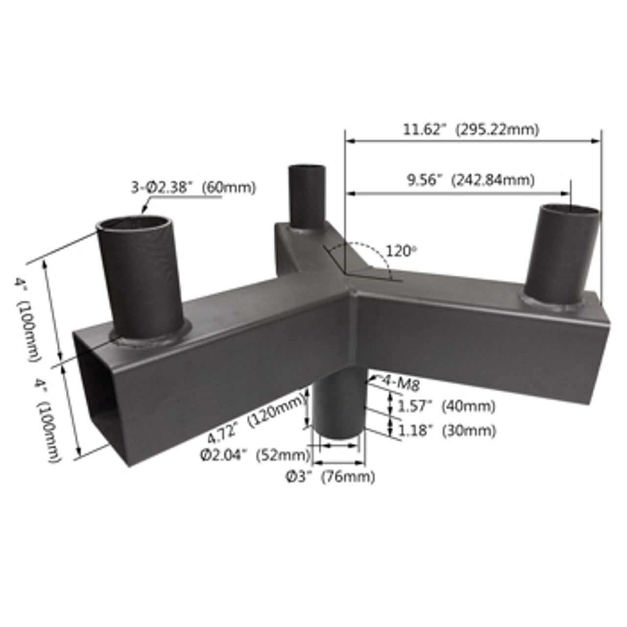 Triple Square Vertical Tenon for 3 fixtures - dimensions