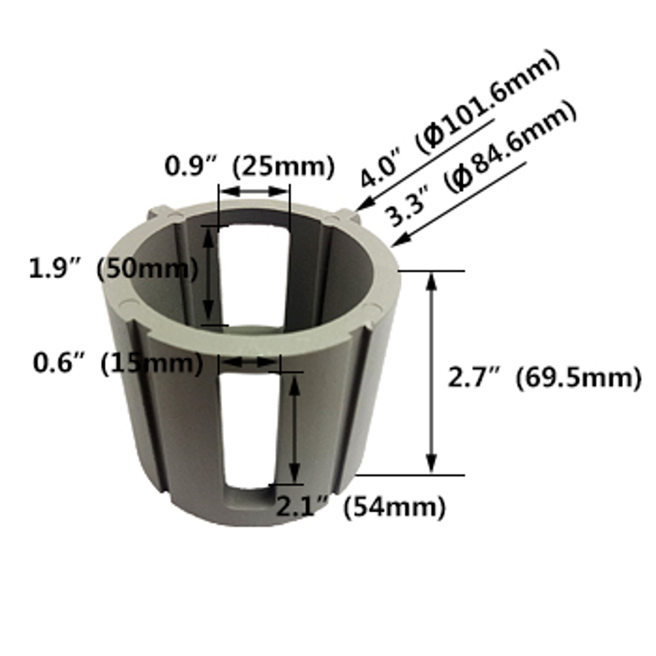 Round Post Top Adaptor for LED Street Light insert dimensions