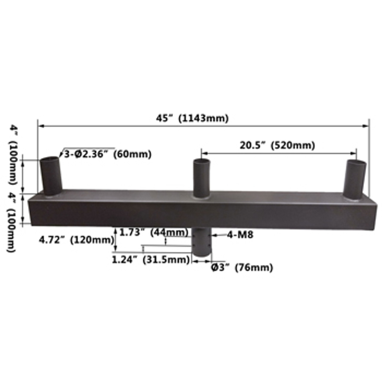 Triple Square Horizontal Bull Horn for 3 fixtures- dimensions