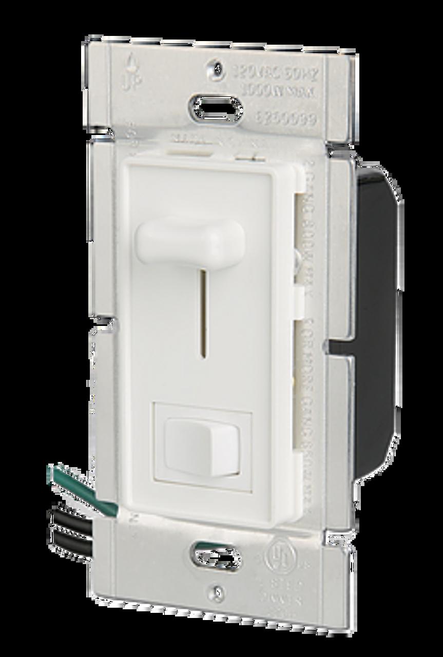 Single Pole 600W Slide Dimmer w/ LED & Rocker Switch, White